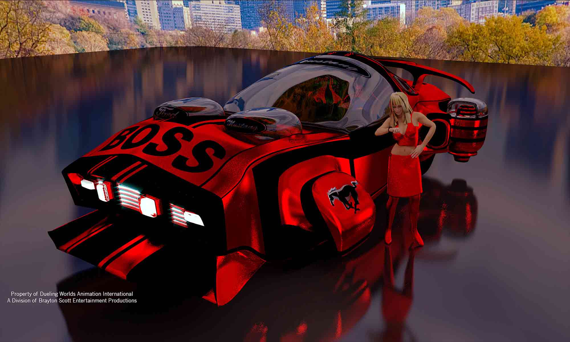 Image of Dueling Worlds© International 3D 2069 i2 Cyber Ford Boss Mustang Concept StratoCar
