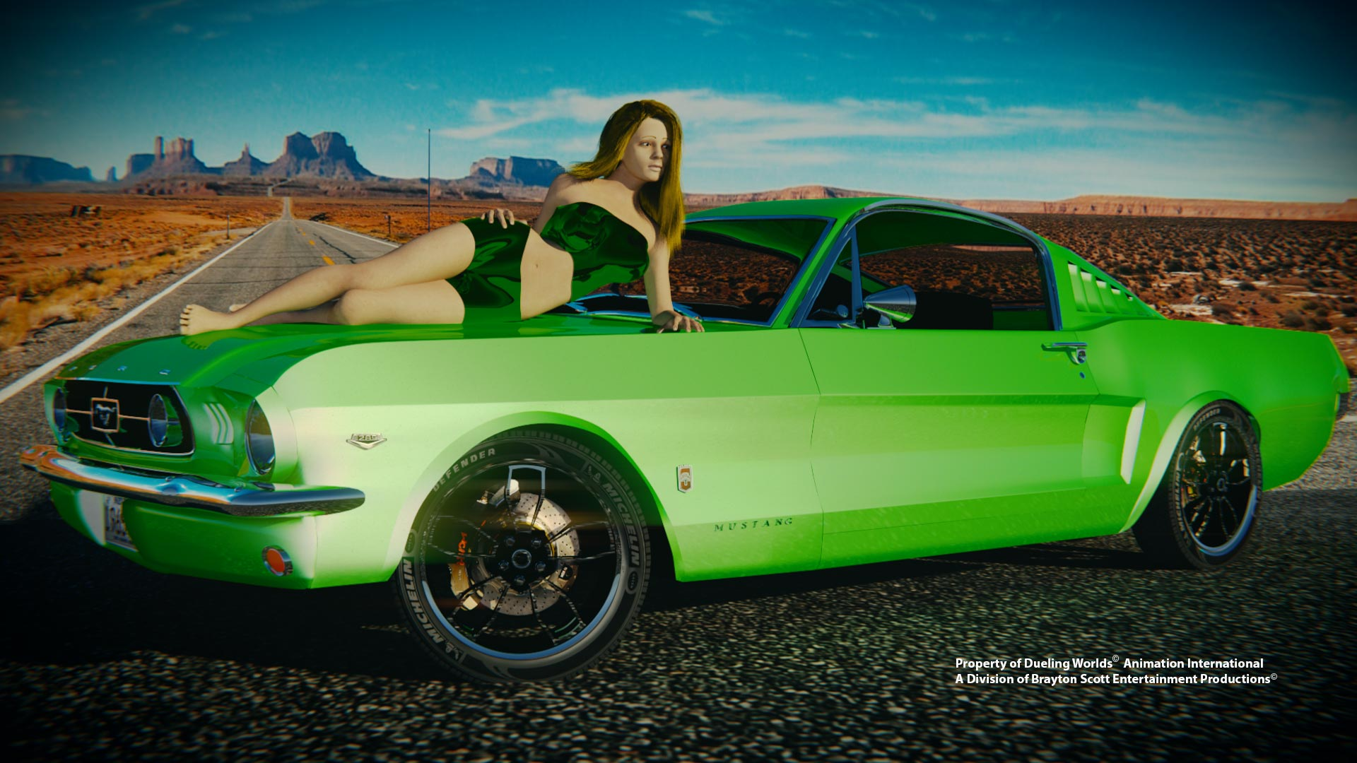 Image of Dueling Worlds© Render Cloud- Dueling Worlds© International Mustang Sally on Hood Green 1965 Mustang GT Fastback