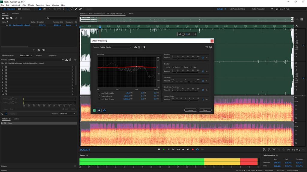 Image of Adobe Audition Mastering Subtle Clarity for Mastering Bad Girls Dream