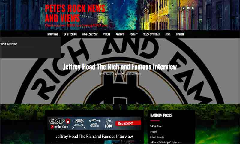 Image of Interview with Jeffrey Hoad on Pete's Rock News and Views - The Rich and Famous Band - Dueling Worlds© International