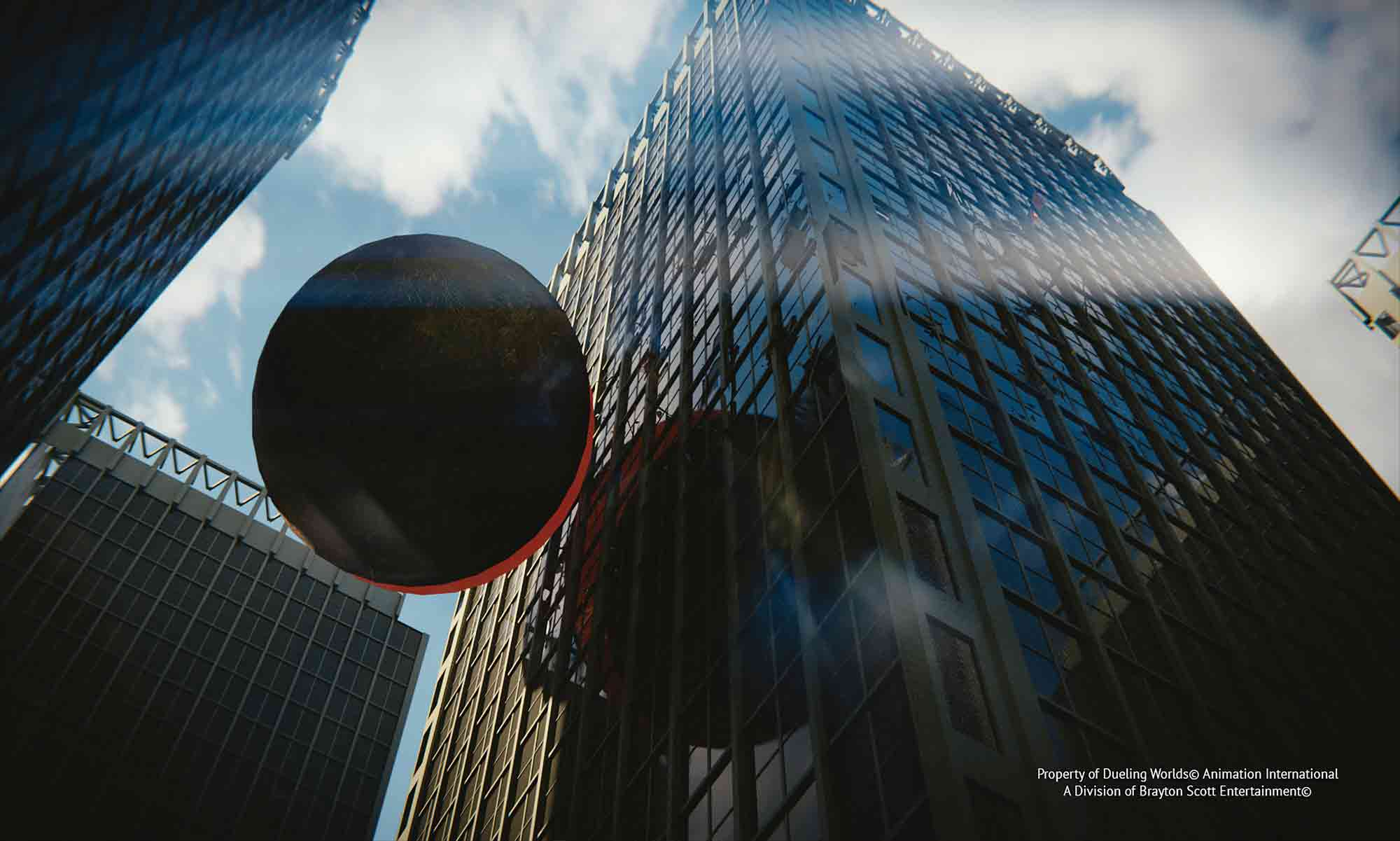 Image of Dueling Worlds© International Full Impact of Laxatrone Meteor into Skyscraper