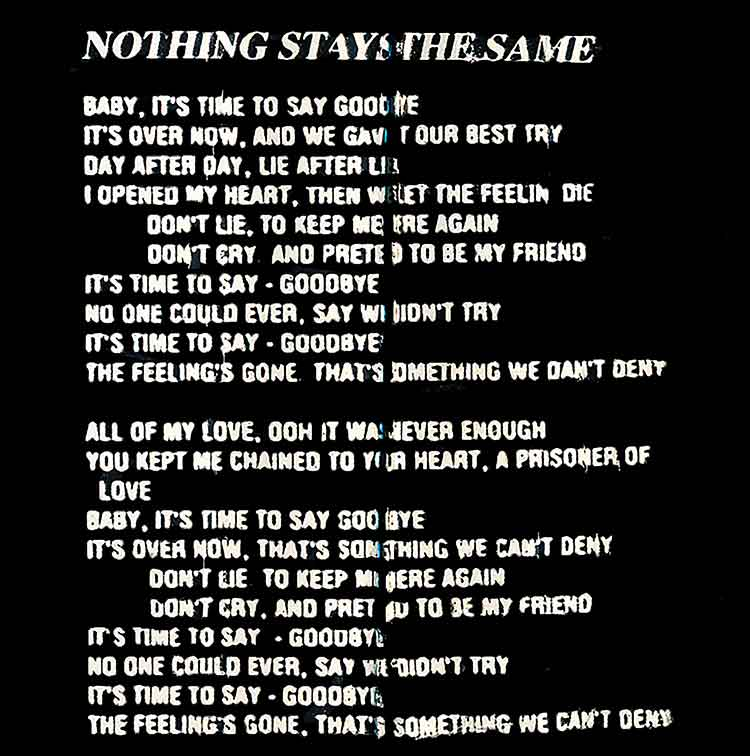 Image of Lyrics to Nothing Stays the Same by Restless Child - Dueling Worlds© International