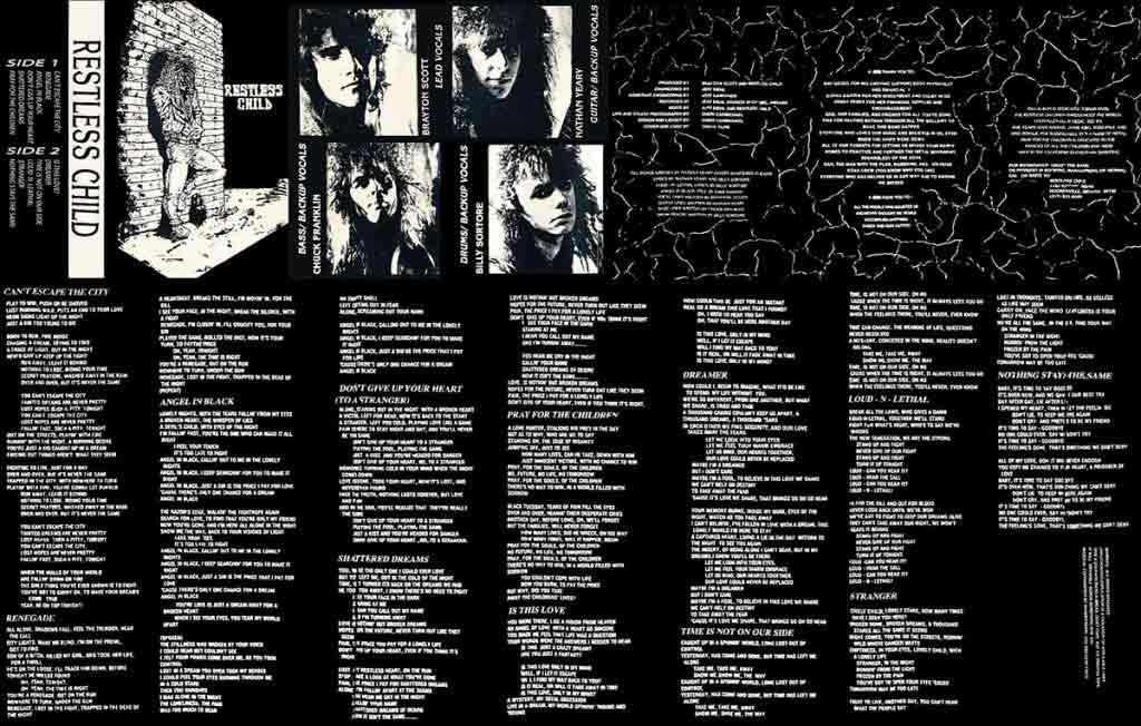 Image of Restless Child CD Insert Lyrics Side SO Upside