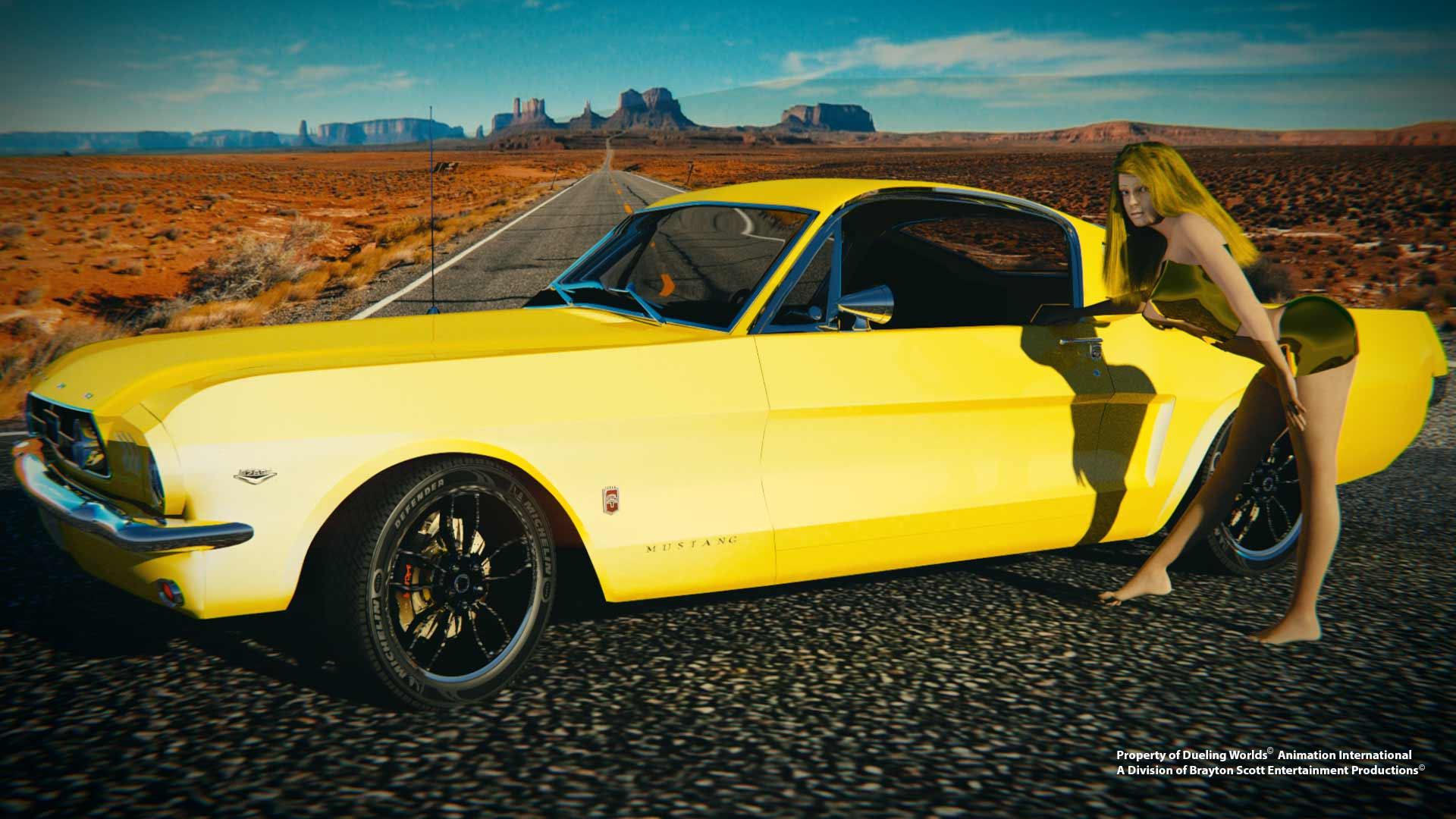 Image of Dueling Worlds© Render Cloud- Dueling Worlds© International Mustang Sally in front of Canary Yellow 1965 Mustang GT Fastback
