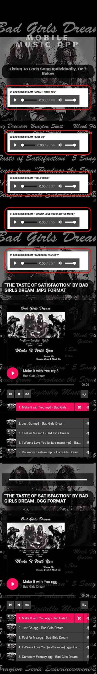 Image of Bad Girls Dream Album in App Site